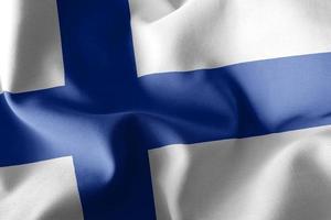Representación 3D de la ilustración de cerca la bandera de Finlandia. foto