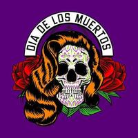 Decorative Lady Skull Head Day of the Dead Mexico Illustration vector