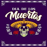Decorative Skull Head Mexican Hat Day of the Dead Mexico Illustration vector