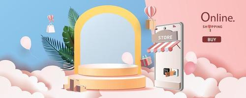 shopping online on phone paper art modern pink vector