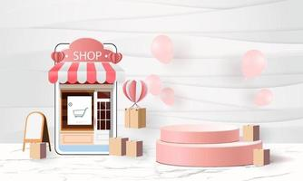 Online delivery Warehouse,cartoon paper art on mobile shopping online vector