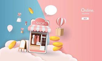 shopping online on phone paper art pink money vector