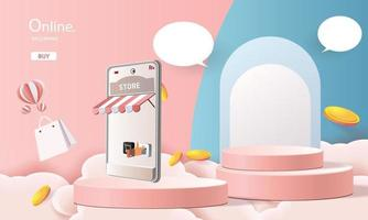 shopping online phone podium paper art pink background vector