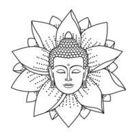 Buddha Head and Lotus vector
