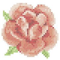 Cross Stitch Red Rose vector