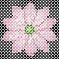 Cross Stitch Lotus vector