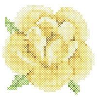 Cross Stitch Yellow Rose vector
