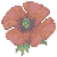 Cross Stitch Red Poppy vector