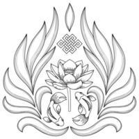 Buddhism Symbols Pattern vector