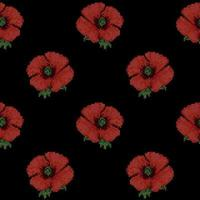 Seamless Pattern with Cross Stitch Red Poppies vector
