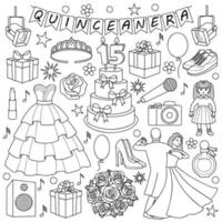 Quinceanera Doodle Set vector
