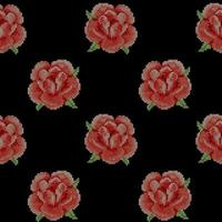 Seamless Pattern with Cross Stitch Red Roses vector