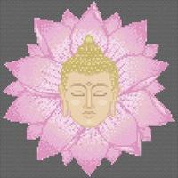 Buddha Head and Lotus Cross Stitch vector