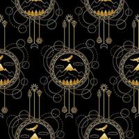 Gold Mountains Seamless Pattern vector