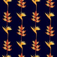 Gold Tropic Flowers Seamless Pattern vector