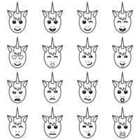 Emotional Unicorn Face Icons vector
