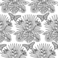 Tropical Outline Seamless Pattern vector