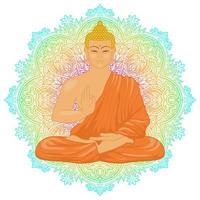 Sitting Buddha on mandala background vector