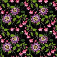 Fuchsia and Passiflora Seamless Pattern vector