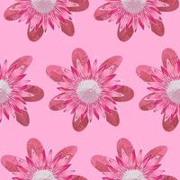 Protea Pink Seamless Pattern vector