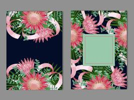 Tropical templates set with flowers, leaves and ribbons vector
