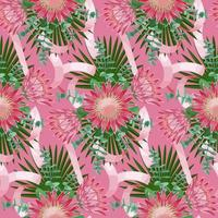 Seamless Pattern withTropical Wedding Bouquet vector
