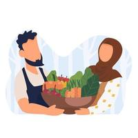 islamic couple with bucket of vegetable vector