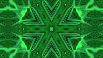 Abstract green symmetrical kaleidoscope background video