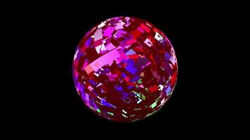 Shiny pink sphere on a black background. video