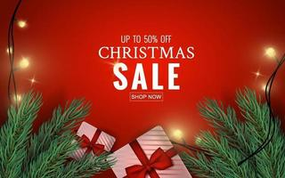 Merry Christmas sale banner vector