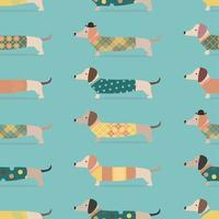 Seamless pattern with dachshund dogs in clothes on blue background vector