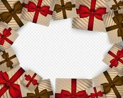Merry Christmas Background with realistic gift box vector