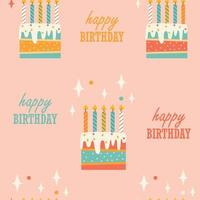 Seamless pattern with birthday cake and candles vector