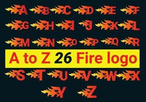 Fire A to Z Letter Logo And Icon Design Bundle vector