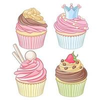 Vector set of cupcakes isolated on white background