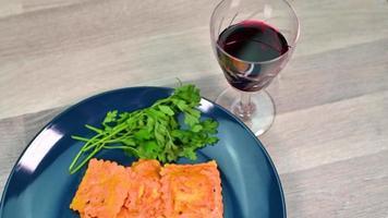 fish ravioli dish composition video
