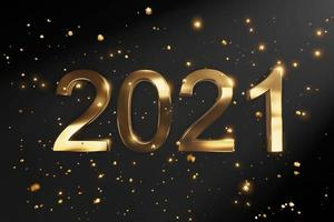 2021 Happy New Year. Holiday 3d sign gold metallic numbers 2021. photo