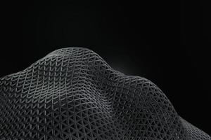 Dark background with Black line curve design. Abstract , 3d Rendering photo