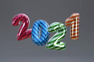 2021 Happy New Year. Holiday 3d Party bollon metallic color photo
