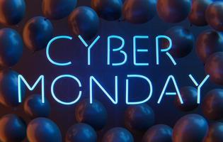 letrero de neón del lunes cibernético con globos foto