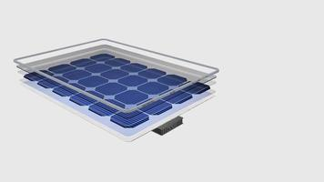 Animation 3D shows a solar panel is divided in its parts with names video