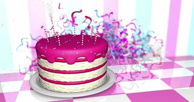 Birthday cake appears on table then confetti explosion from the back video
