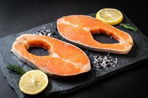 fresh raw salmon fillet steak photo