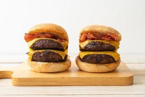 hamburger or beef burgers with cheese and bacon photo