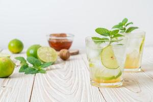iced honey and lime soda with mint photo