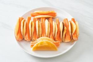 flat pancake roll with crab stick photo