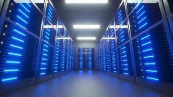 datacenter serverrum genomgång animation, 3d render 4k video