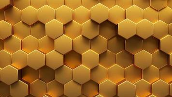 Animated abstract background of golden hexagon. 3d rendering video