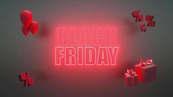 Glowing black friday banner with red neon letters. video