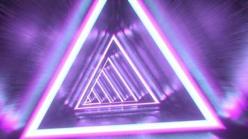 Endless abstract futuristic tunnel with neon lights. video